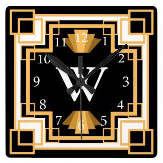 Art Deco Vintage 1920s Geometric Pattern Custom Square Wall Clock