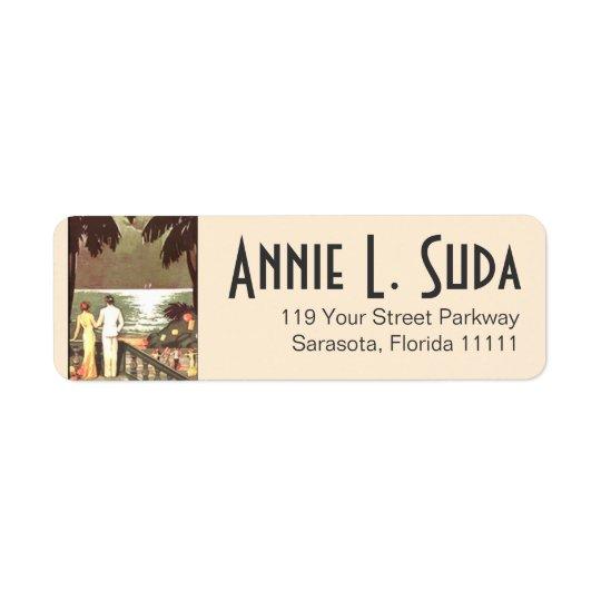 Art Deco Vintage Beach | blush Return Address Label