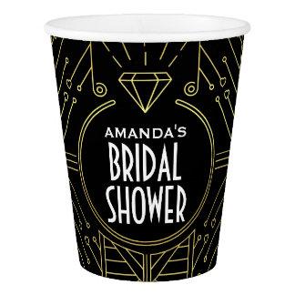 Art Deco Vintage Black and Gold Bridal Shower Cups