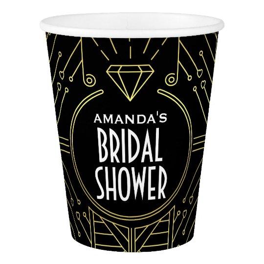 Art Deco Vintage Black and Gold Bridal Shower