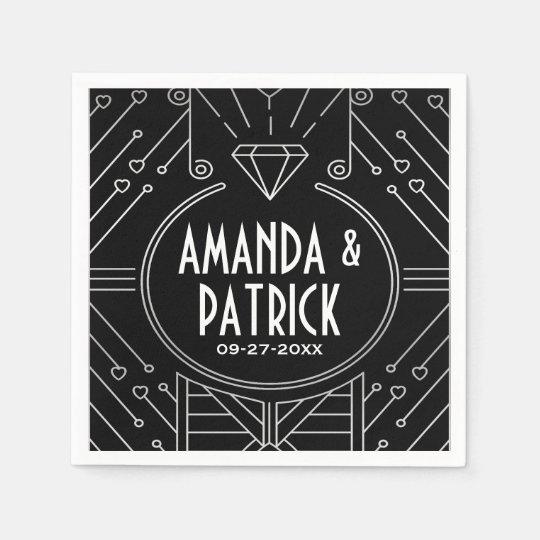 Art Deco Vintage Black and Silver Wedding Napkins
