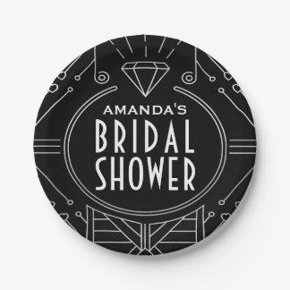 Art Deco Vintage Black Silver Bridal Shower Plates