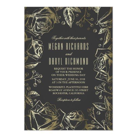 Art Deco Vintage Floral Black and Gold Wedding