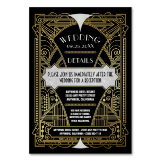Art Deco Vintage Gold Black Wedding Inserts Cards Table Cards
