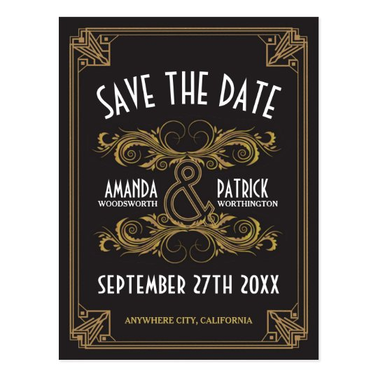 Art Deco Vintage Gold Wedding Save the Date