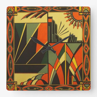 Art Deco vintage inspired square wall clock