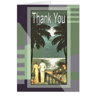 Art Deco Vintage Miami Beach Thank You Card