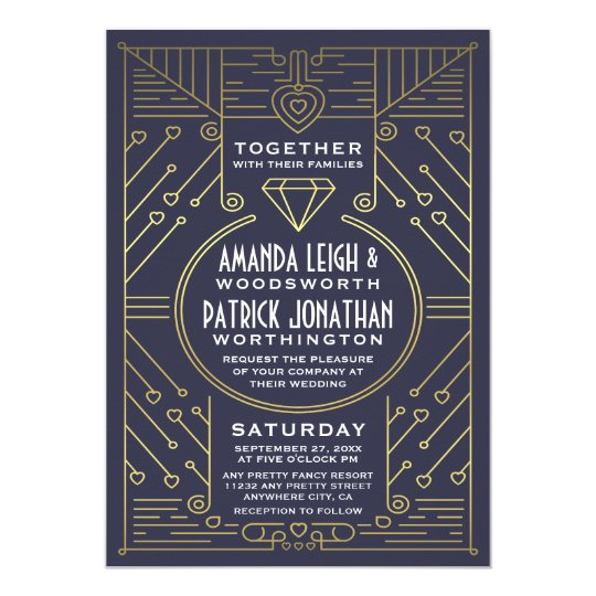 Art Deco Vintage Navy and Gold Wedding Invitations