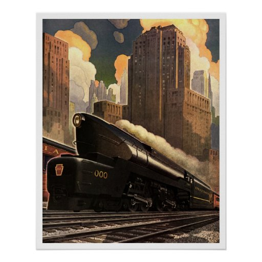 Art Deco Vintage US Railway Poster print