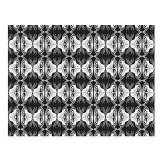 Art Deco wallpaper pattern - black and white Postcard