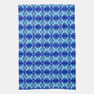 Art Deco wallpaper pattern - cobalt blue and white Kitchen Towels