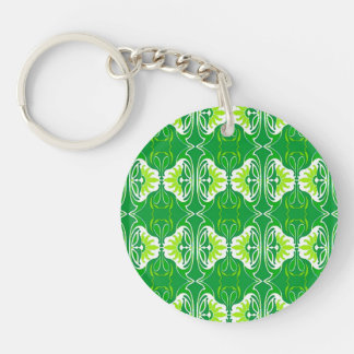 Art Deco wallpaper pattern - green and white Key Ring