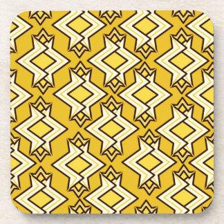 Art Deco Wallpaper Pattern, Mustard Gold Drink Coasters