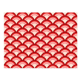 Art Deco wave pattern - coral red and pink Postcard