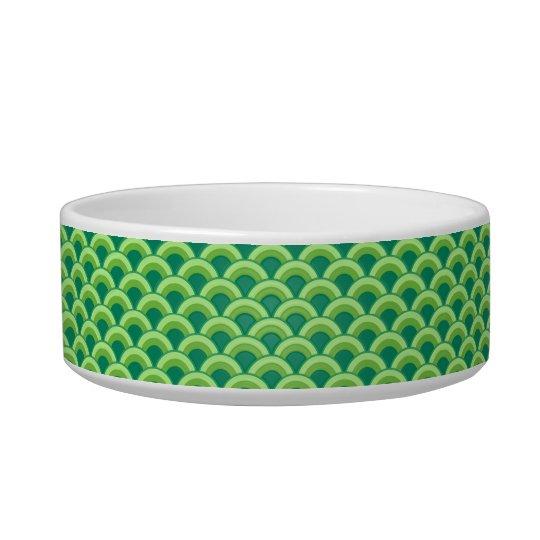 Art Deco wave pattern - jade green Bowl