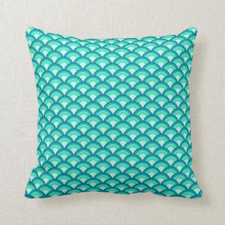 Art Deco wave pattern - shades of turquoise Throw Pillow