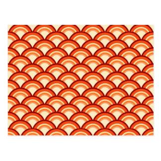 Art Deco wave pattern - tangerine orange Postcard