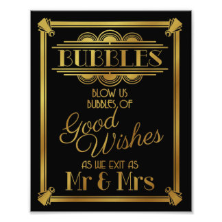 art deco, Wedding bubble sign wedding poster,