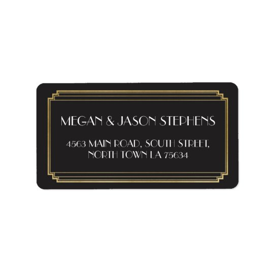 Art Deco Wedding Gold Return Address Label Art