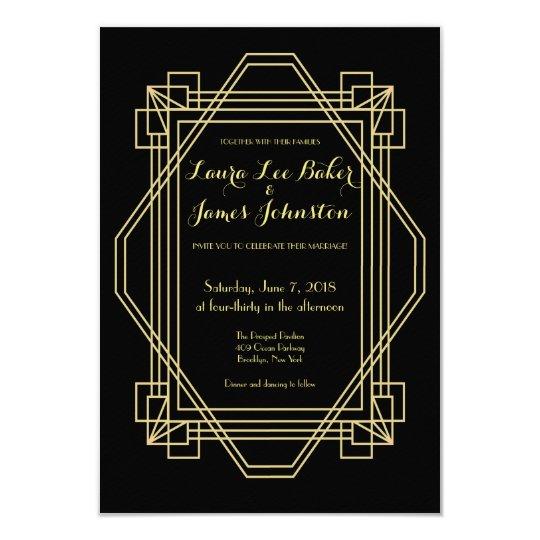 Art Deco Wedding invitation 1920s Gatsby