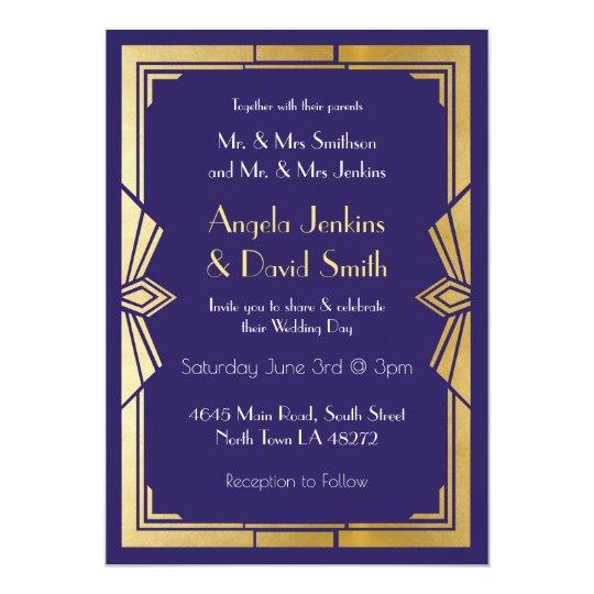 Art Deco Wedding Invitation 1920s Gatsby Navy Gold