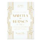 Art Deco Wedding Invitation in Gold and White