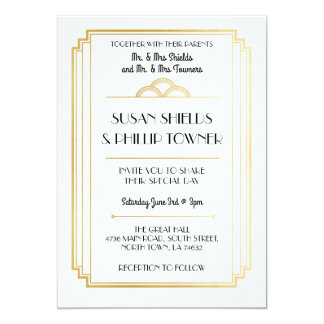 Art Deco Wedding Invitations White & Gold 1920's