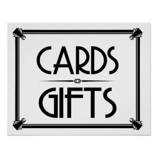 Art Deco WEDDING PARTY CARDS & GIFTS SIGN