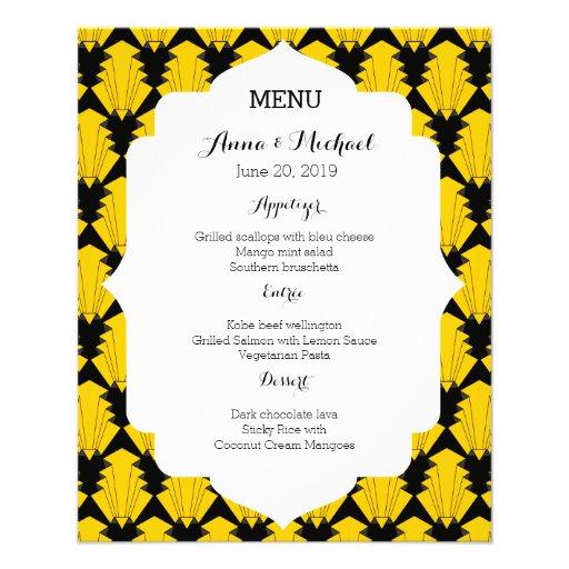 Art Deco Wedding Reception Menu List Flyer Design