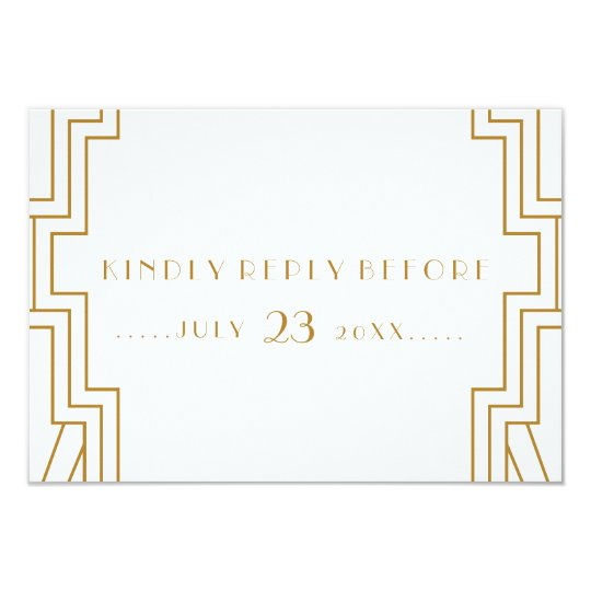 Art Deco Wedding RSVP Card Gold and White