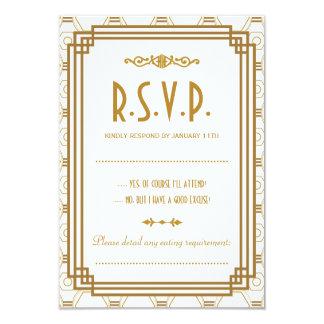 Art Deco Wedding RSVP Response Cards 9 Cm X 13 Cm Invitation Card