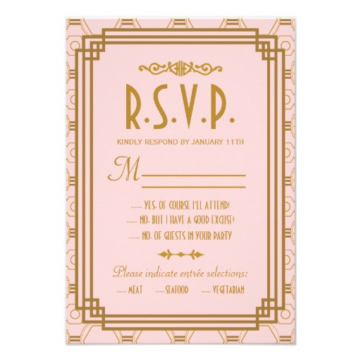 Art Deco Wedding RSVP Response Cards