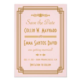 "Art Deco Wedding Save The Date Invitations 5"" X 7"" Invitation Card"