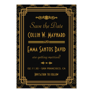 Art Deco Wedding Save The Date Invitations