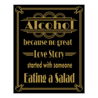 "Art Deco Wedding sign ""Alcohol Print"