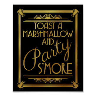 art deco wedding, s'more party sign, gold, gatsby poster