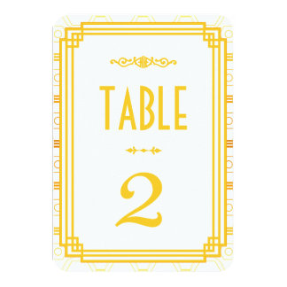 Art Deco Wedding Table Numbers 9 Cm X 13 Cm Invitation Card