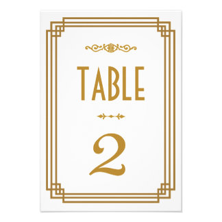 Art Deco Wedding Table Numbers Personalized Announcement