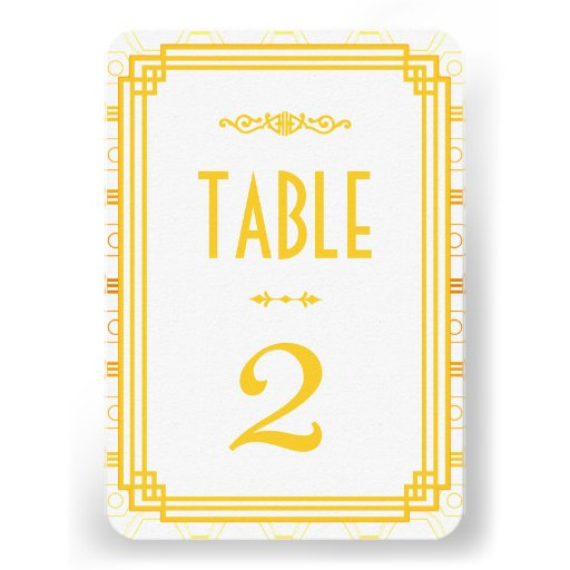 Art Deco Wedding Table Numbers Custom Announcement