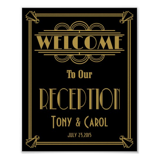 Art Deco Welcome to our Reception  print