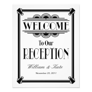 art deco, welcome to our reception wedding sign art photo