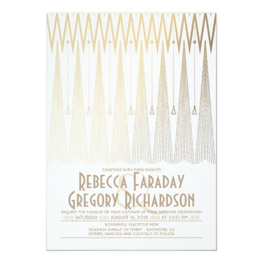 Art Deco White and Gold Elegant Geometric Wedding
