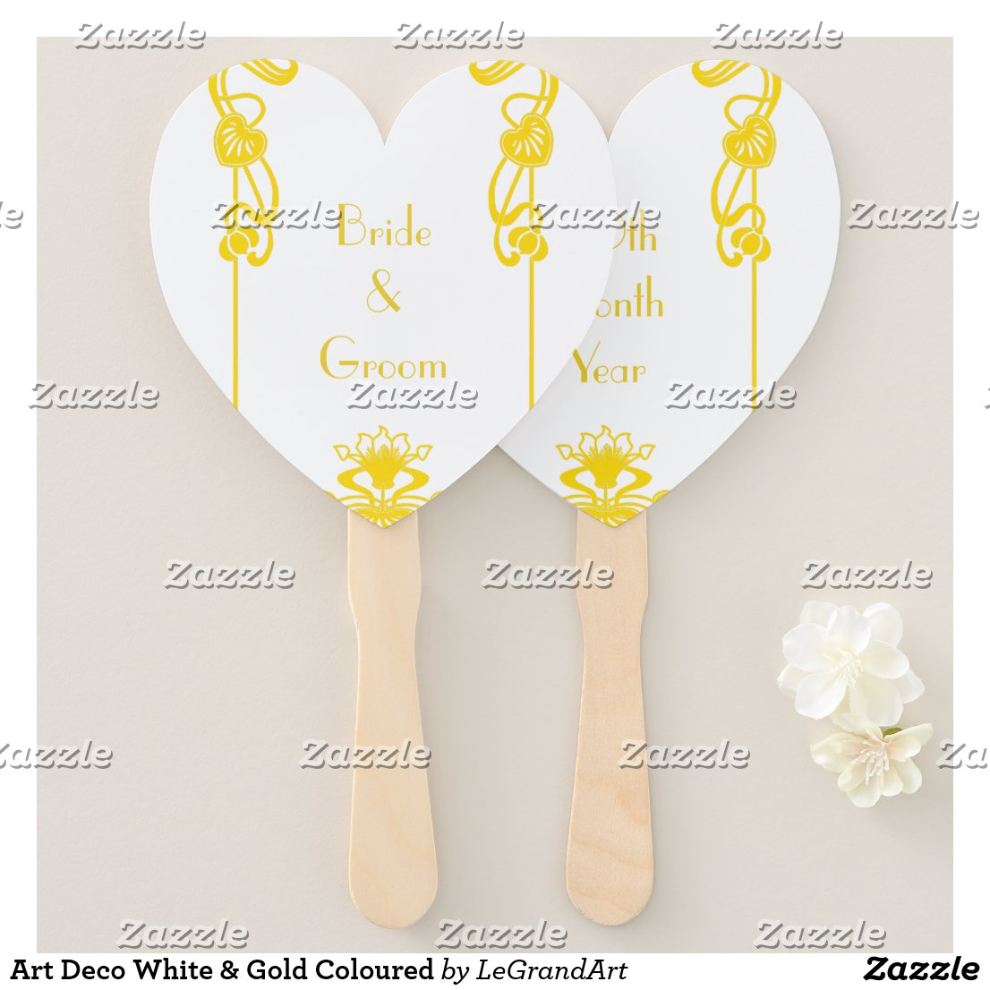 Art Deco White & Gold Coloured Hand Fan