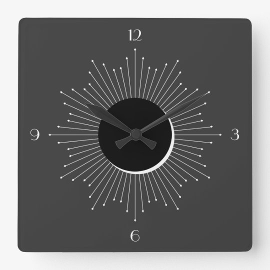 Art Deco White Sunburst Eclipse (dark grey) Square