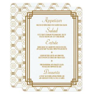 Art Deco White Wedding Menu Cards