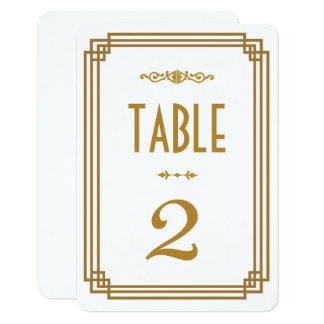 Art Deco White Wedding Table Numbers 9 Cm X 13 Cm Invitation Card