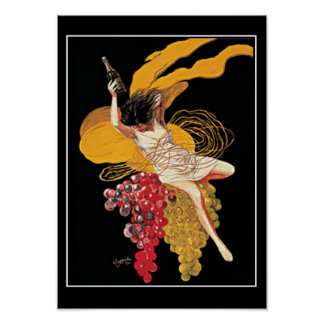 Art Deco Wine Grapes vintage  Print Poster