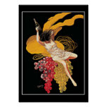 Art Deco Wine Grapes vintage  Print Poster Poster