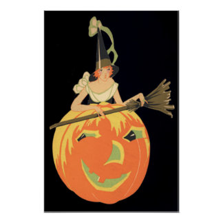 Art Deco Witch Jack O Lantern Pumpkin Broom Poster