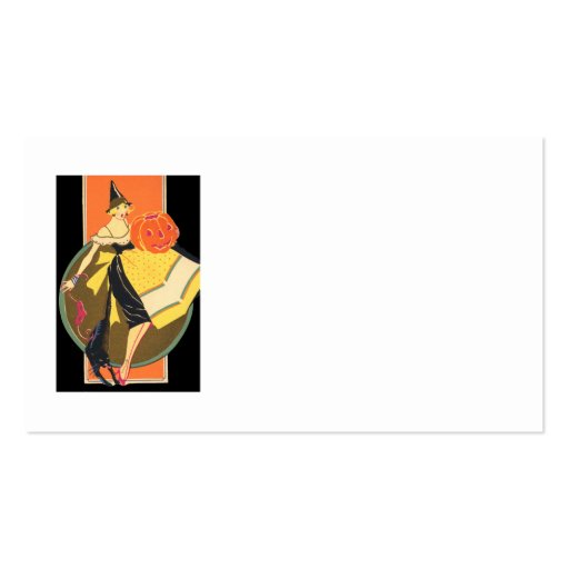 Art Deco Witch Jack O Lantern Pumpkin Business Card Templates